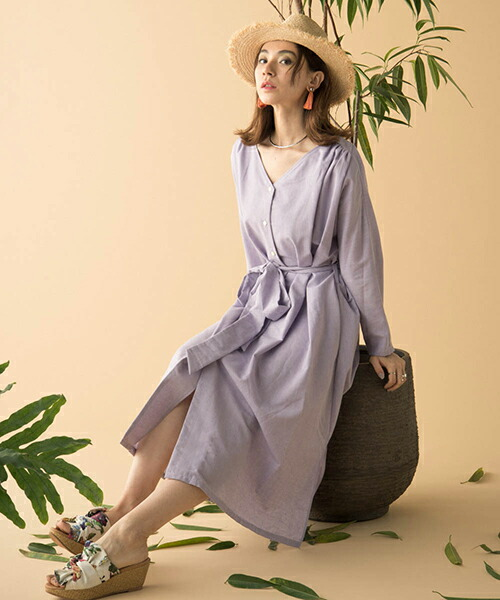【Laymee(レイミー)】LY18SP-OP04-Cher linen one piece-シェルリネンワンピース