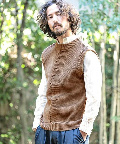 【CAMBIO(カンビオ)】CB-SS1-8-Simple Cotton Knit Vest ベスト