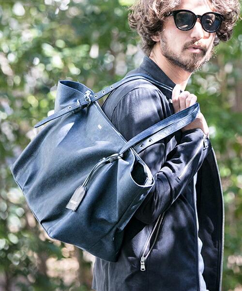 【DECADE(ディケイド)】CMB-00999-CAMBIO別注-Decade Denim Leather Tote Bag