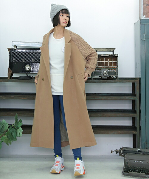 【STORAMA(ストラマ)】KNIT MIX TRENCH COAT コート(STRM-18A)