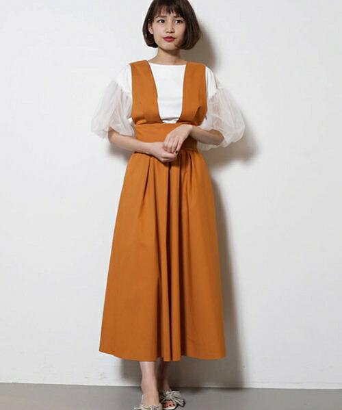 【LAGUNAMOON(ラグナムーン)】ハイウエストフレアージャンパースカート(031830800601)