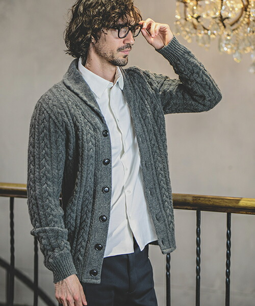【felkod(フィルコッド)】Cashmere Touch Shawl Collar Knit Cardigan カーディガン(F18W050)