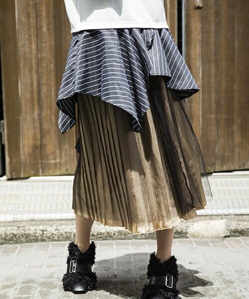 【OSMOSIS(オズモーシス)】レイヤードプリーツスカート(786240-259S)