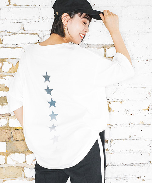 【CAMBIO(カンビオ)】ビッグシルエットTシャツ-Star Line(STC122)