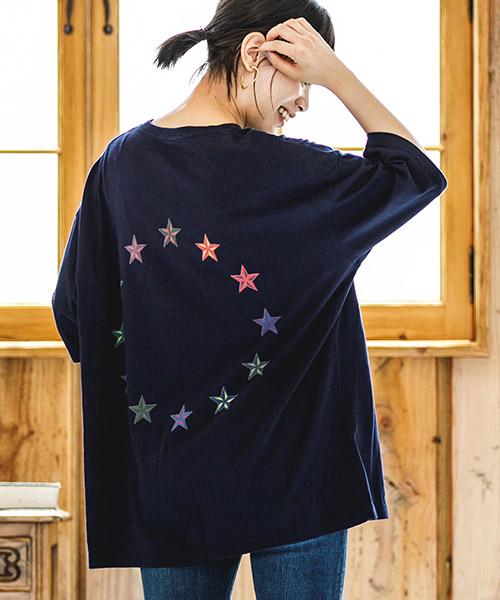 【CAMBIO(カンビオ)】ビッグシルエットTシャツ-Star Circle(STC123)