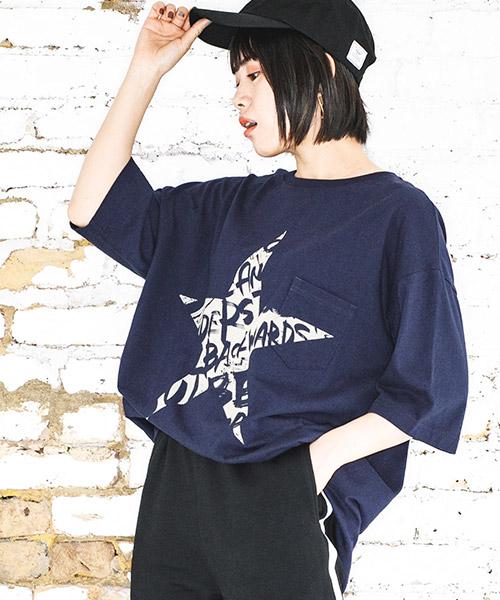 【CAMBIO(カンビオ)】ビッグシルエットTシャツ-Star Logo(STC124)