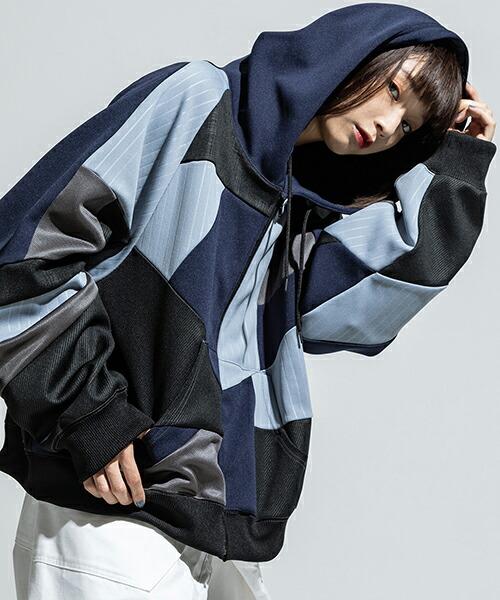 【ANSEASON ANREALAGE】panel patchwork jersey hoody パーカー(19sas131)