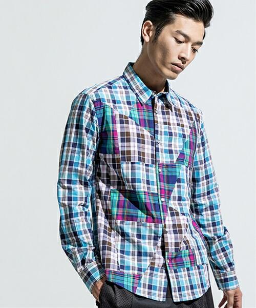 【ANSEASON ANREALAGE】panel patchwork check shirt シャツ(19sas121)