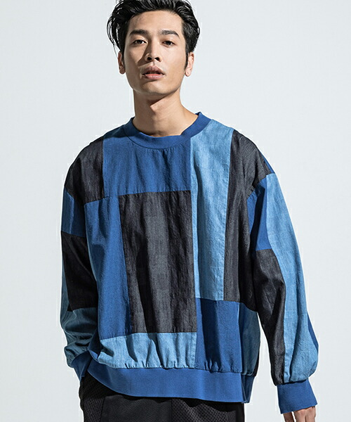 【ANSEASON ANREALAGE】dungaree panel patchwork sweat スウェット(19sas132)