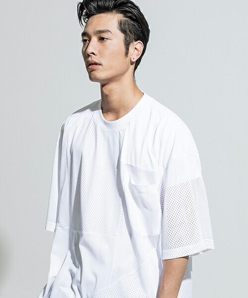 【ANSEASON ANREALAGE】mesh panel patchwork big tee Tシャツ(19sas118)