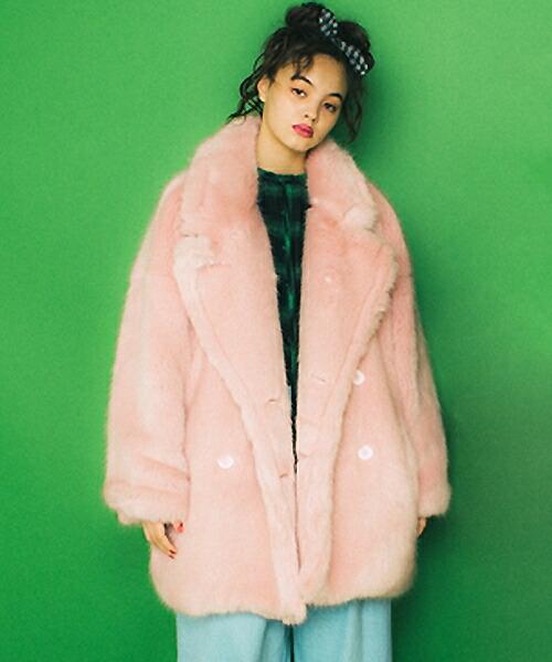 【Little sunny bite(リトルサニーバイト)】BIG fur coat ファーコート(LSB-LJK-131K)