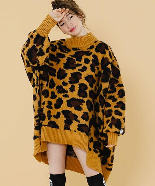 【Little sunny bite(リトルサニーバイト)】LSB original leopard bomber knit dress ニットドレス(LSB-LKTOP-124K)
