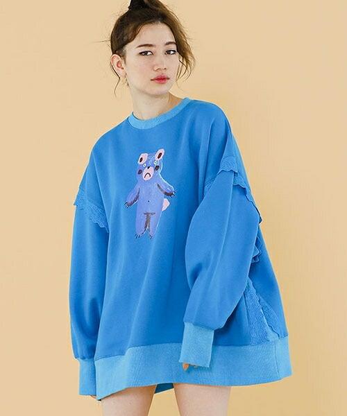 【Little sunny bite(リトルサニーバイト)】Bear big sweater スウェット (LSB-LTOP-156K)