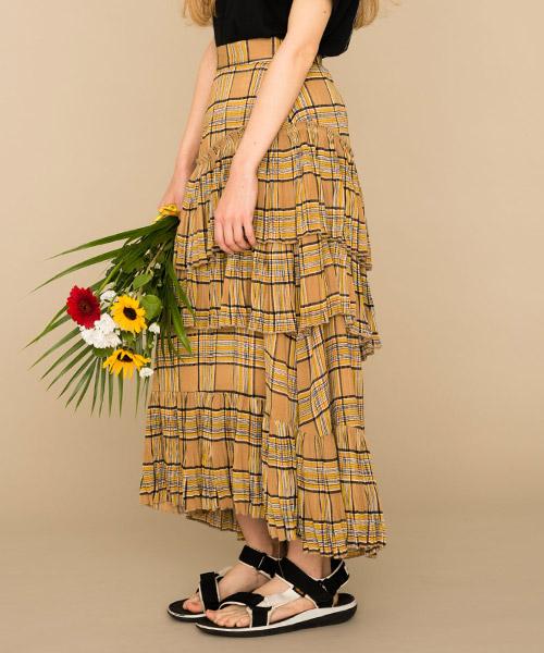 【MIXXDAVID(ミックスディビッド)】SHEER CHECK TIERED SKIRT スカート(1901MDSK28)