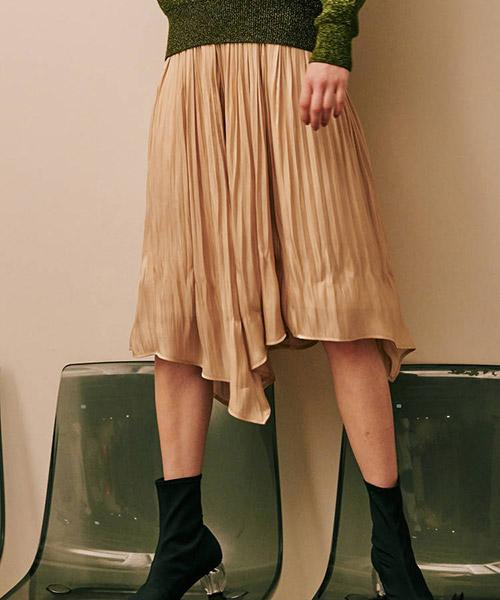 【LAGUNAMOON(ラグナムーン)】グロッシープリーツフレアースカート(031860800101)