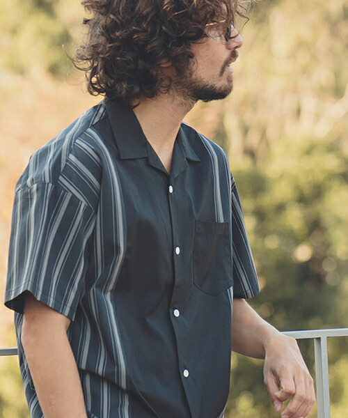 【ANGENEHM(アンゲネーム)】Retro Stripe Swtich Short Sleeve Shirts(MADE IN JAPAN) シャツ(ANG9-006)