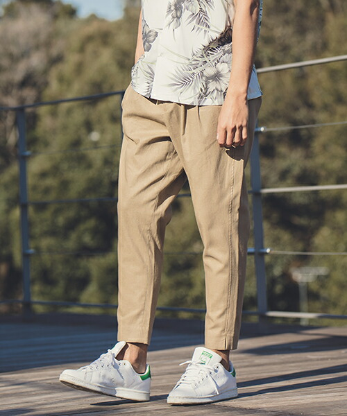 【ANGENEHM(アンゲネーム)】Cotton Linen Tuck Tapered Ankle Pants(MADE IN JAPAN) パンツ(ANG9-016)