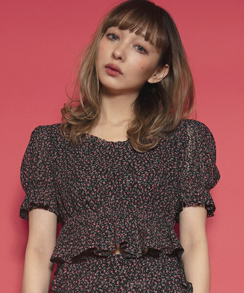 【FICTION TOKYO(フィクション トーキョー)】Rose motif Tops カットソー(F18SS-TP01)