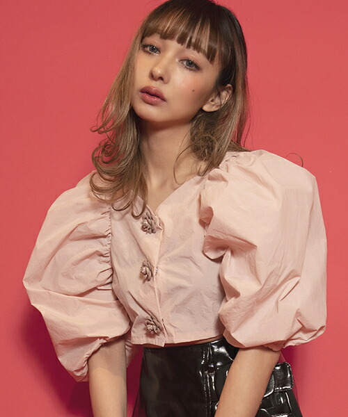 【FICTION TOKYO(フィクション トーキョー)】Rose Button Tops カットソー(F19SS-TP02)
