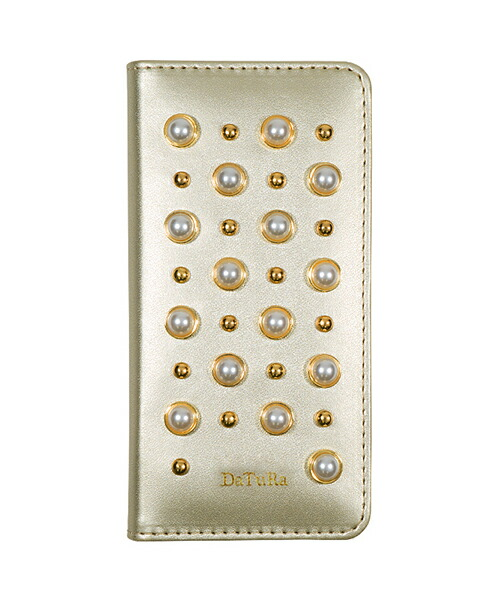 【Gizmobies(ギズモビーズ)】DaTuRa iPhone6.6S.7.8手帳ケース PEARL STUDS GOLD(AB-0931-IP67-GOLD)