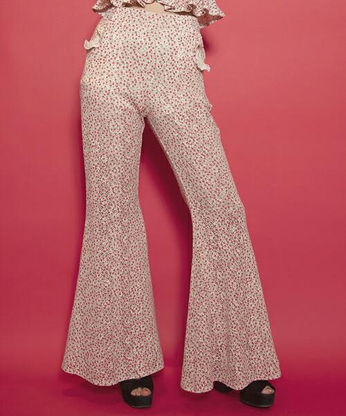 【FICTION TOKYO(フィクション トーキョー)】Rose motif Flare Pants  フレアパンツ(F19SS-PA01)