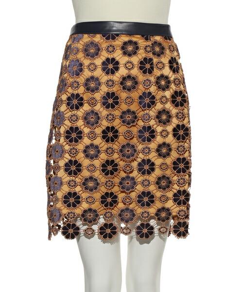 【Lily Brown(リリーブラウン)】お花柄ベロアレーススカート(LWFS191067)
