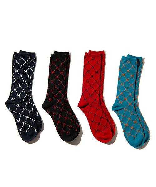 【glamb(グラム)】 GB monogram socks ジービーモノグラムソックス(GB0219-AC03)