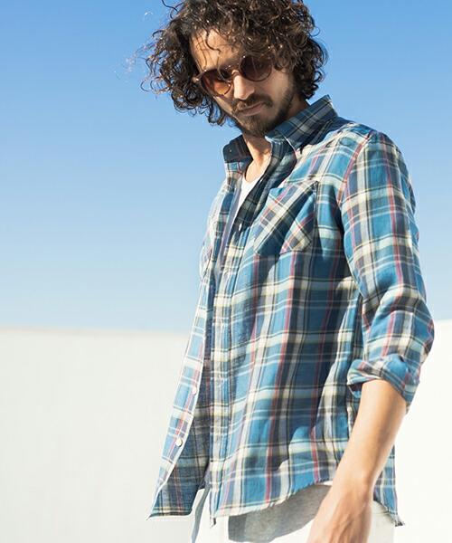 【CAMBIO(カンビオ)】コットンリネンツイルチェックシャツ(CMB1129)