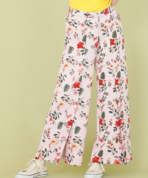 【Little sunny bite(リトルサニーバイト)】little sunny bite ×Clap Clap hibiscus print pants パンツ(LSB-LPT-160L)