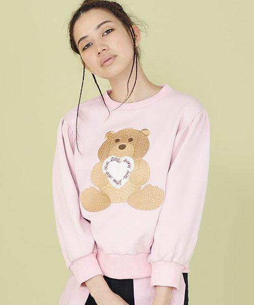 【Little sunny bite(リトルサニーバイト)】little sunny bite ×Clap Clap bear stiched sweater(LSB-LTOP-157L)