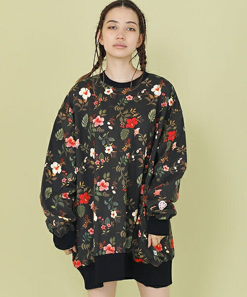 【Little sunny bite(リトルサニーバイト)】little sunny bite × Clap Clap : hibiscus print big sweater(LSB-LTOP-159L)
