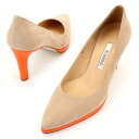 A fluorescence orange is simple pumps / nubuck heel 8.5cm of the pointed two that contained the storm of the point ☆ combination color