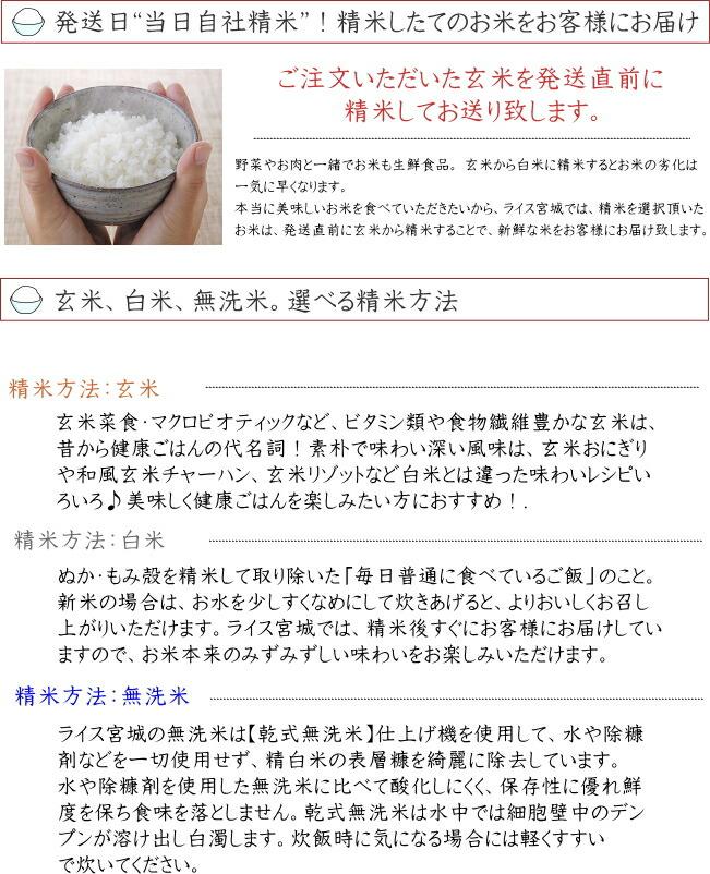 平成28年度宮城県登米産ササニシキ 玄米30kg/白米27kg/無洗米26kg 小分け仕様も選べます