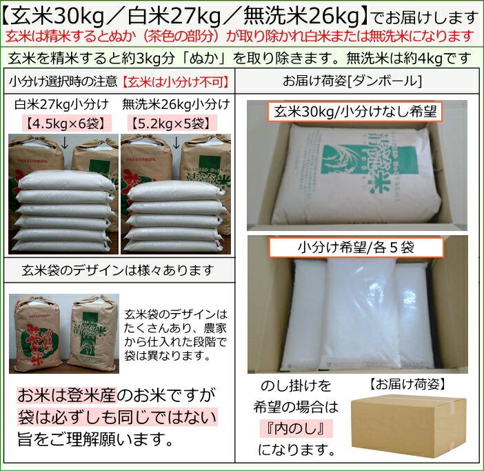 平成28年度宮城県登米産ひとめぼれ 玄米30kg/白米27kg/無洗米26kgでお届け