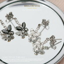 Cute ★ CZ diamond (cue BIC zirconia) butterfly pierced earrings / clear ☆ black
