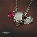 Sterling silver necklace handmade silver scull X ruby X crown (the crown) SV925 ※ reservation product※