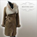 Shearling coat ナナメジップ Womens fur Shearling coat with a waist Ribbon