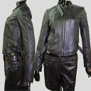 Quilted stitching leather jacket