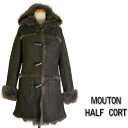Mouton coat women's Shearling coats fur half Duffel takehara closing original women ladies classic design