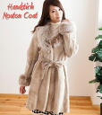 Stitched belted Shearling coat fur coat Shearling Womens