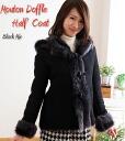 Lady's fur mouton coat duffel mouton half coat mouton coat