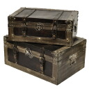Wooden trunk box 2 piece set (Bo-01) (display gadgets retro antique classic Showa storage box BOX bag satchel back leather leather) classic Deco style Renaissance-antique +-