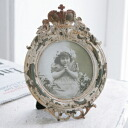 Stand, and European display miscellaneous goods, an album, a memory, a photo are classical crown round photo frame BG-81( round shape crown junk decoration, シャビーシック, a photograph; interior miscellaneous goods, antique, display miscellaneous goods)