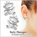 Cute earring / earrings and Platinum earrings and Earring / earrings / CZ (cubic zirconia) pierced ladies Silver925 silver accessory / Silver 925 earrings