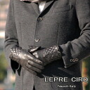 Italy men's leather gloves glove zip quilted leather gloves [wool liner: 1115 w-men LEPRE CIRO lepre Ciro