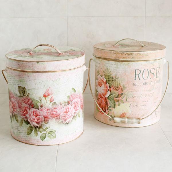 薔薇柄の収納ボックス