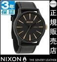 NIXON WATCH NA1051041-00 SENTRY LEATHER MATTE BLK/GOLD
