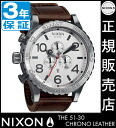 Review by coupon 10000 Yen-present during ★ [regular 2 years warranty] NA1241113 Nixon 51-30 CHRONO LEATHER Nixon watches Mens Watches NIXON watch NIXON 51-30 Chrono leather chronograph SILVER/BROWN watch waterproof 51-30 nixon watches men women