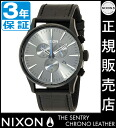 Review with coupon 6000 Yen-present during ★ [regular 2 years warranty] NA4051886 Nixon Sentry Chrono leather Nixon watch men's watches NIXON watch NIXON SENTRY CHRONO LEATHER BLACK GATOR Nixon watch nixon at chronograph
