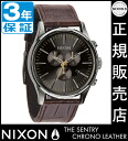 Review with coupon 6000 Yen-present during ★ [regular 2 years warranty] NA4051887 Nixon Sentry Chrono leather Nixon watch men's watches NIXON watch NIXON SENTRY CHRONO LEATHER BROWN GATOR Nixon watch nixon at chronograph